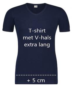 T-shirt V hals beeren marine extra lang